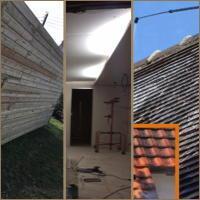 Entretien de toiture démoussage, traitement hydrofuge. Travaux plaquiste, aménagement combles et bardages.